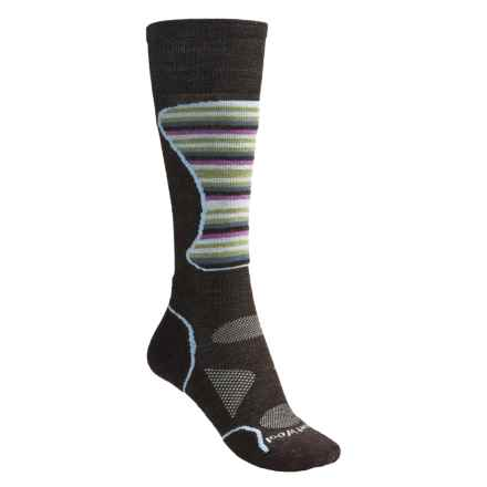SmartWool PhD Mid Cushion Ski Socks - Lightweight, Merino Wool (For Women) in Chestnut Multi Stripe - 2nds