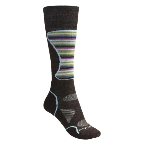 SmartWool PhD Mid Cushion Ski Socks - Lightweight, Merino Wool (For Women) in Chestnut Multi Stripe