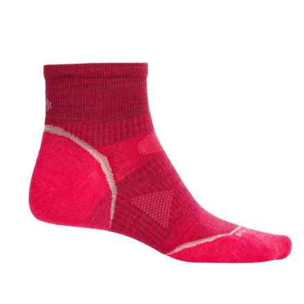 SmartWool PhD Multisport Mini Socks - Merino Wool, 1/4 Crew (For Women) in Persian Red - Closeouts