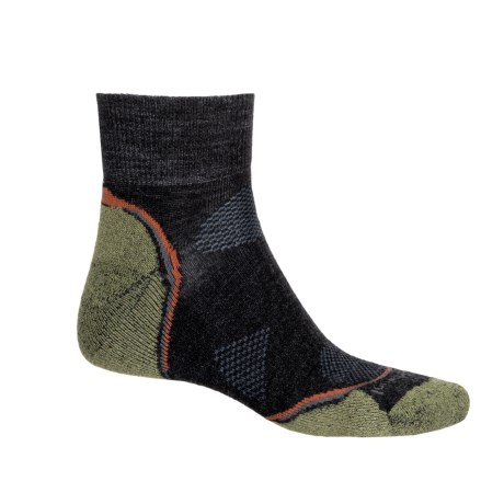 SmartWool PhD Outdoor Light Hiking Socks - Merino Wool, Crew (For Men and Women) in Charcoal/Grass