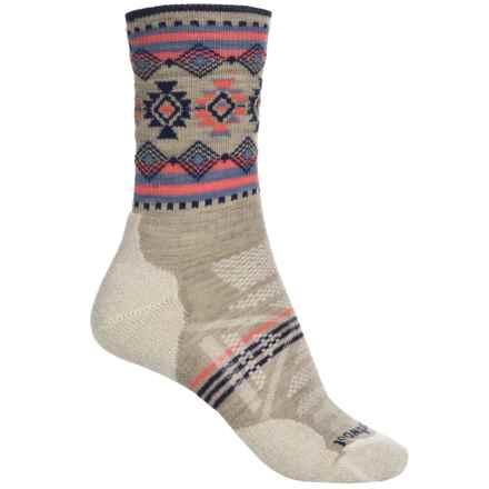 SmartWool PhD Outdoor Light Pattern Socks - Merino Wool, Crew (For Women) in Oatmeal - Closeouts