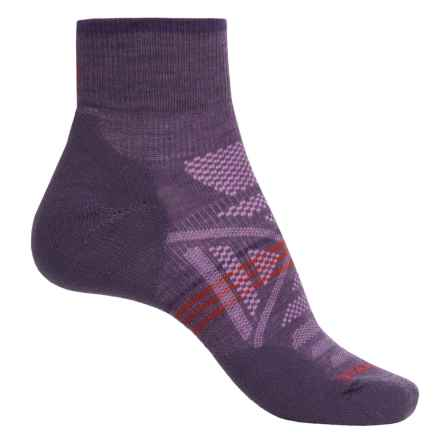 SmartWool PhD Outdoor Light Patterned Socks - Merino Wool, Quarter Crew (For Women) in Desert Purple - Closeouts
