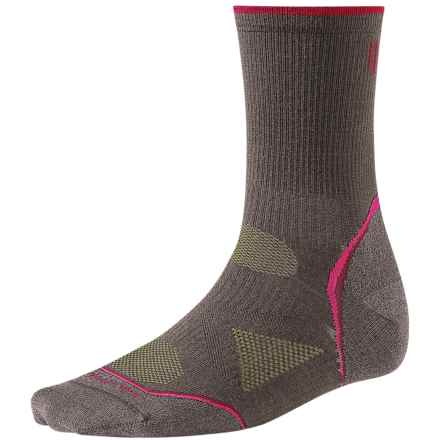 SmartWool PhD Outdoor Light Socks - Merino Wool, 3/4 Crew (For Women) in Taupe/Persian Red - 2nds