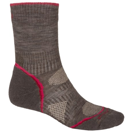 SmartWool PhD Outdoor Light Socks - Merino Wool, Crew (For Women) in Taupe/Persian Red