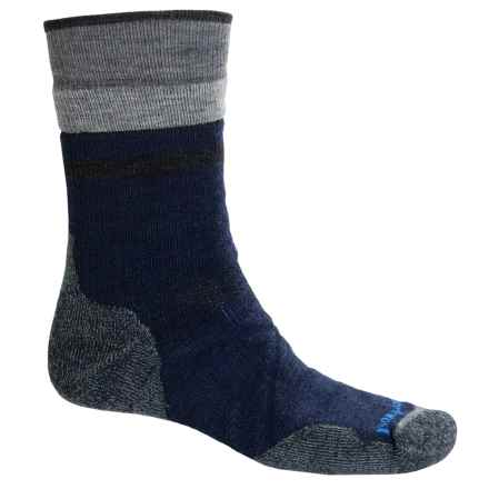 SmartWool PhD Outdoor Medium Pattern Socks - Merino Wool, Crew (For Men) in Deep Navy/Medium Gray - 2nds