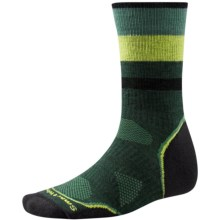 SmartWool PhD Outdoor Pattern Socks - Merino Wool, Crew (For Men and Women) in Bottle Green - Closeouts