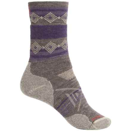 SmartWool PhD Outdoor Pattern Socks - Merino Wool, Crew (For Women) in Taupe - 2nds