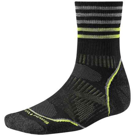 SmartWool PhD Outdoor Pattern Socks - Merino Wool, Quarter Crew (For Men and Women) in Black - 2nds