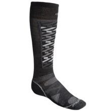 SmartWool PhD Pattern Ski Socks - Merino Wool, Lightweight, Over-the-Calf (For Men and Women) in Black/White - 2nds