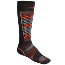 SmartWool PhD Pattern Ski Socks - Merino Wool, Lightweight, Over-the-Calf (For Men and Women) in Charcoal - 2nds