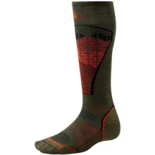 SmartWool PhD Pattern Ski Socks - Merino Wool, Lightweight, Over-the-Calf (For Men and Women) in Loden - 2nds