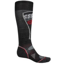 SmartWool PhD Pattern Ski Socks - Merino Wool, Over the Calf (For Men and Women) in Black/Red - 2nds