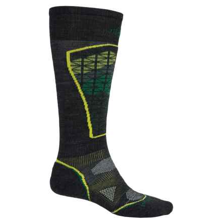 SmartWool PhD Pattern Ski Socks - Merino Wool, Over the Calf (For Men and Women) in Charcoal/Alpine Green - 2nds