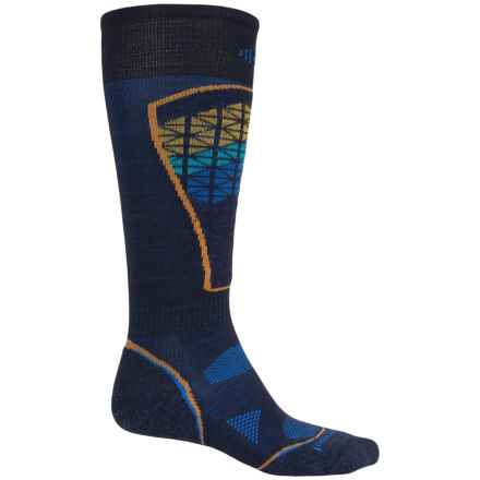 SmartWool PhD Pattern Ski Socks - Merino Wool, Over the Calf (For Men and Women) in Navy - 2nds