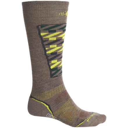 SmartWool PhD Pattern Ski Socks - Merino Wool, Over the Calf (For Men and Women) in Taupe - 2nds