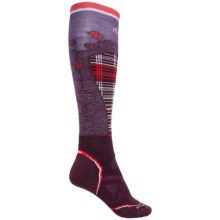 SmartWool PhD Pattern Ski Socks - Merino Wool, Over the Calf (For Women) in Aubergine - Closeouts