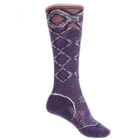 SmartWool PhD Pattern Ski Socks - Merino Wool, Over the Calf (For Women) in Desert Purple