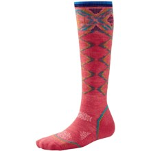 SmartWool PhD Pattern Ski Socks - Merino Wool, Over the Calf (For Women) in Hibiscus - Closeouts