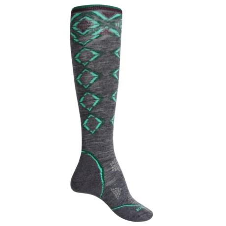 SmartWool PhD Pattern Ski Socks - Merino Wool, Over the Calf (For Women) in Medium Gray