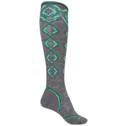 SmartWool PhD Pattern Ski Socks - Merino Wool, Over the Calf (For Women) in Medium Gray - Closeouts