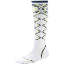 SmartWool PhD Pattern Ski Socks - Merino Wool, Over the Calf (For Women) in White - Closeouts