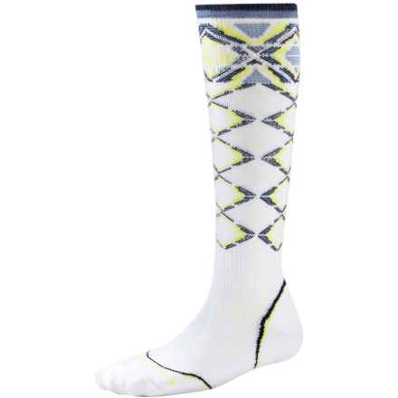 SmartWool PhD Pattern Ski Socks - Merino Wool, Over the Calf (For Women) in White - 2nds