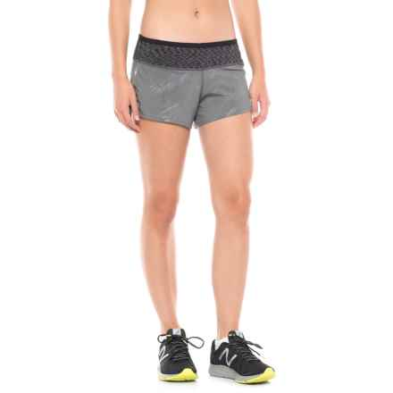 SmartWool PhD Patterned Run Shorts - Built-In Brief (For Women) in Medium Gray - Closeouts