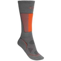 SmartWool PhD Racer Ski Socks - Midweight, Merino Wool, Over the Calf (For Men and Women) in Graphite/Orange