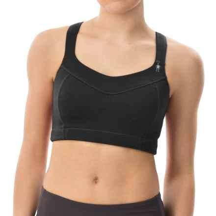SmartWool PhD Racerback Sports Bra - Merino Wool, High Impact (For Women) in Black - Closeouts