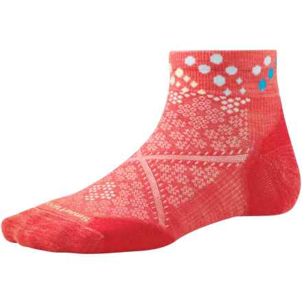 SmartWool PhD Run Elite Pattern Socks - Merino Wool, Ankle (For Women) in Hibiscus - Closeouts
