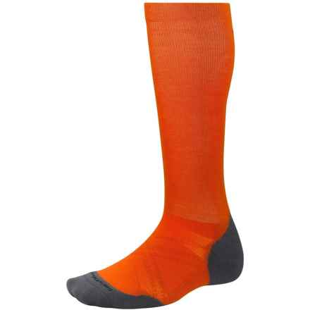 SmartWool PhD Run Graduated Compression Light Elite Socks - Merino Wool (For Men and Women) in Bright Orange - Closeouts