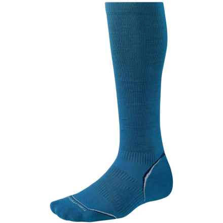 SmartWool PhD Run Graduated Compression Socks - Merino Wool, Over the Calf (For Men and Women) in Arctic Blue - 2nds