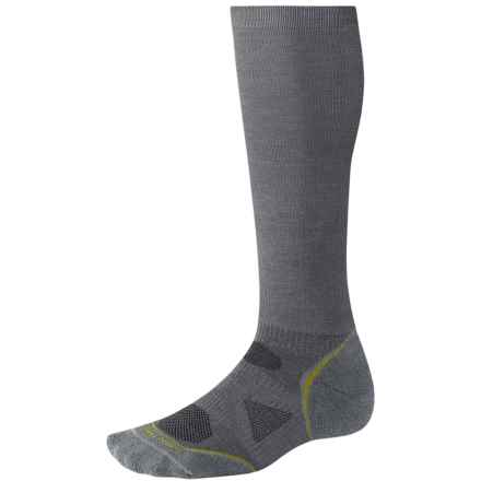 SmartWool PhD Run Graduated Compression Socks - Merino Wool, Over the Calf (For Men and Women) in Graphite - 2nds