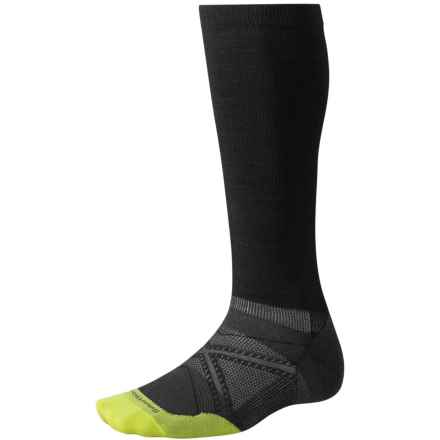 SmartWool PhD Run Graduated Compression Ultralight Socks - Over the Calf (For Men and Women) in Black - 2nds