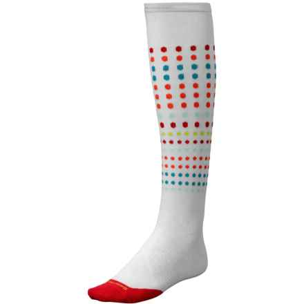 SmartWool PhD Run Knee-High Socks - Merino Wool, Over the Calf (For Women) in White/Hibiscus - 2nds