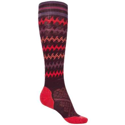 SmartWool PhD Run Light Elite Knee-High Socks - Merino Wool, Over the Calf (For Women) in Aubergine/Bright Coral - 2nds