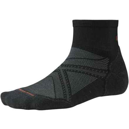 SmartWool PhD Run Light Elite Mini Socks - Merino Wool, Ankle (For Men and Women) in Black - 2nds