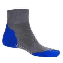 SmartWool PhD Run Light Elite Mini Socks - Merino Wool, Ankle (For Men and Women) in Graphite/Bright Blue - 2nds