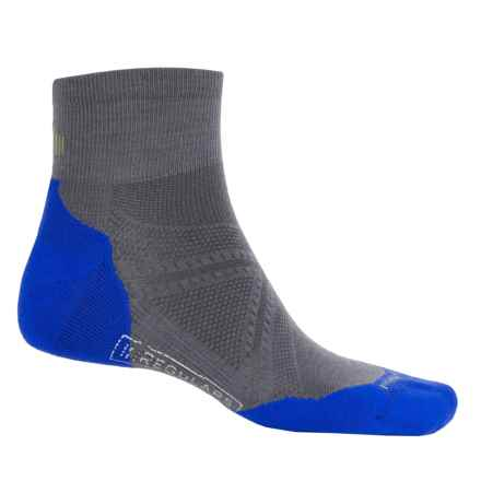 SmartWool PhD Run Light Elite Mini Socks - Merino Wool, Ankle (For Men and Women) in Graphite/Bright Blue - 2nds