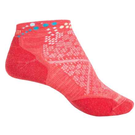 SmartWool PhD Run Light Elite Pattern Socks - Merino Wool, Ankle (For Women) in Hibiscus - 2nds