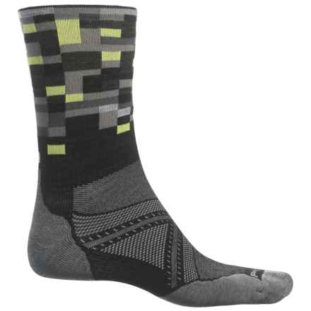 SmartWool PhD Run Light Elite Patterned Socks - Merino Wool, Crew (For Men) in Black - Closeouts