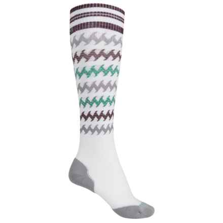 SmartWool PhD Run Light Elite Socks - Merino Wool, Over the Calf (For Women) in White/Canton - Closeouts