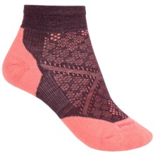 SmartWool PhD Run Light Mini Socks - Merino Wool, Below-the-Ankle (For Women) in Aubergine/Bright Coral - 2nds