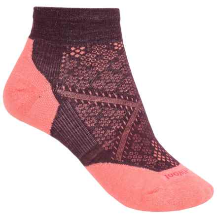 SmartWool PhD Run Light Socks - Merino Wool, Ankle (For Women) in Aubergine/Bright Coral - 2nds