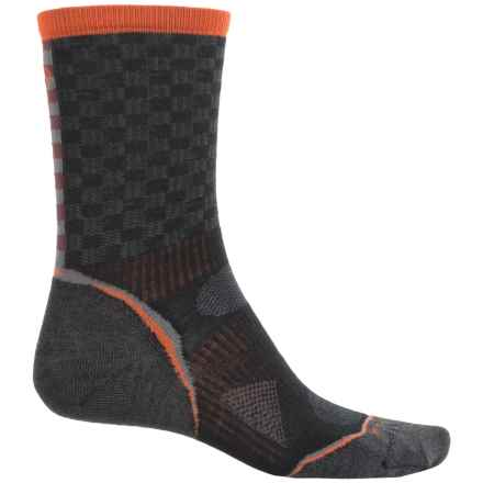 SmartWool PhD Run Pattern Socks - Merino Wool, Crew (For Men and Women) in Black - 2nds