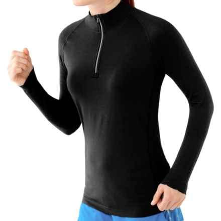 SmartWool PhD Run Shirt - Merino Wool, Zip Neck, Long Sleeve (For Women) in Black - Closeouts