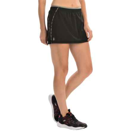 SmartWool PhD Run Skort - Merino Wool, Built-In Shorts (For Women) in Black - Closeouts