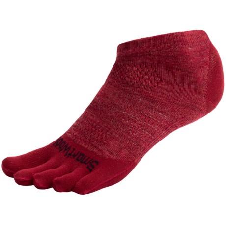 SmartWool PhD Run Toe Socks - Merino Wool, Ankle, Ultralight (For Men and Women) in Persian Red