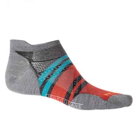 SmartWool PhD Run Ultra Pattern Micro Socks - Merino Wool, Below the Ankle (For Men and Women) in Light Gray - 2nds