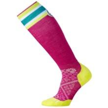 SmartWool PhD Run Ultralight Girls On The Run Socks - Merino Wool, Over the Knee (For Women) in Berry - 2nds